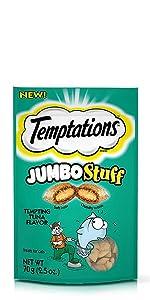 Temptations Jumbo Stuff, Tuna Flavor, Big Cat Treats, Crunchy, Soft, Treats for Cats, Feline, Snacks