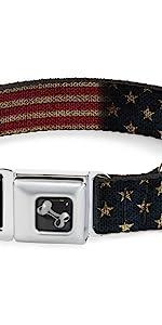 Star Spangled Banner American Flag Vintage Stretch Distressed United States Collar Dog Pet