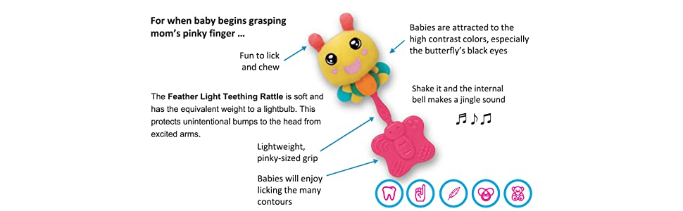 People Feather Light Rattle and Teether BB064
