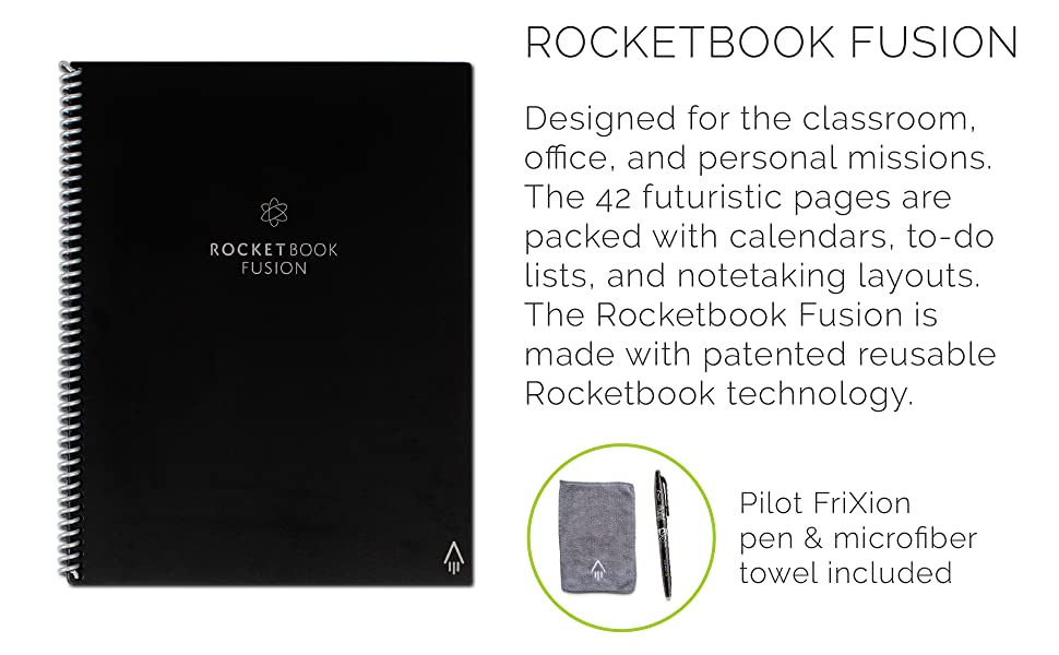 Rocketbook, Rocketbook fusion, rocketbook notebook, reusable notebook, notebooks, erasable notebook
