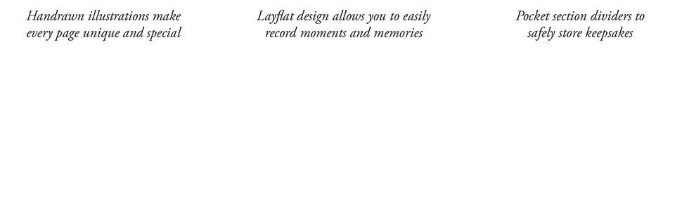 handrawn hand drawn illustrations layflat lay flat design record memories section dividers keepsakes