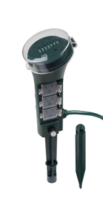 Century Outdoor Multi Socket Timer Yard Stake with Photocell Countdown Timer, 6 Grounded Outlets
