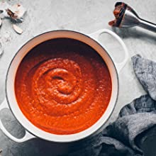 Make sauce in the immersion blender and control texture