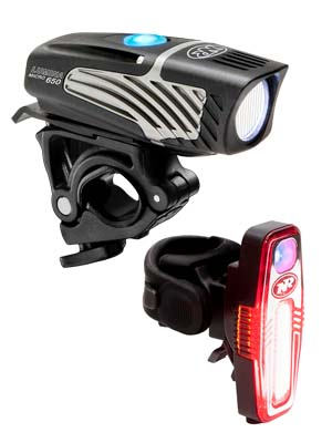 niterider lumina micro 650 front bicycle head light and sabre 110 rear bike taillight combo