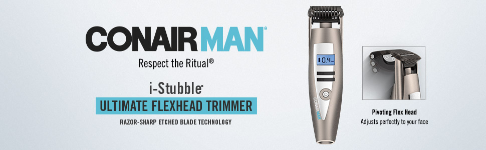 ConairMAN iStubble, Ultimate Flexhead Trimmer, Razor Sharp Etched Blade Technology, Pivoting Flex