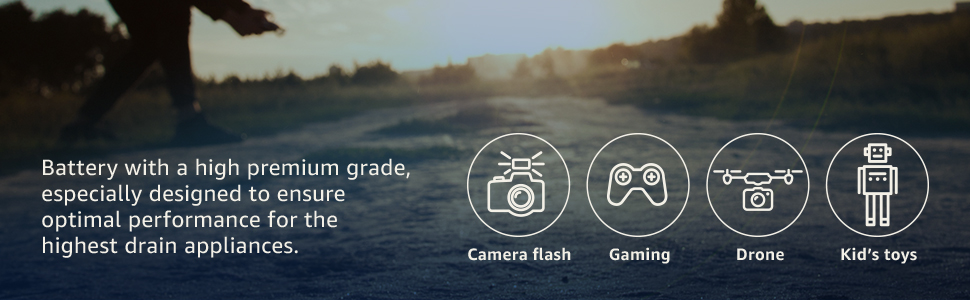 Labels showing camera flash, gaming, drone and kids toys as good usage