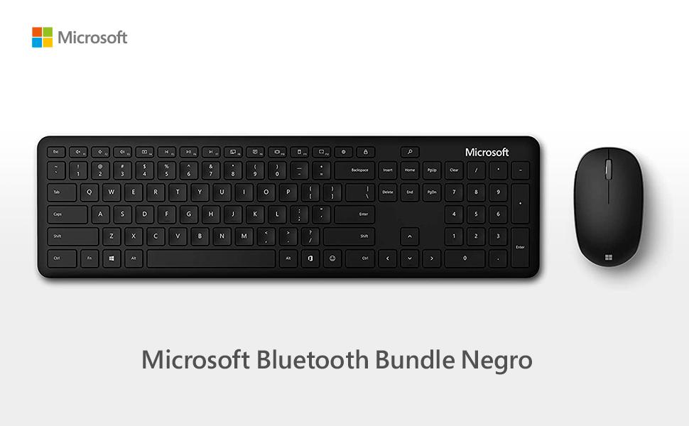 Microsoft QHG-00024- Paquete de Teclado en español y ratón (Bluetooth), Color Negro