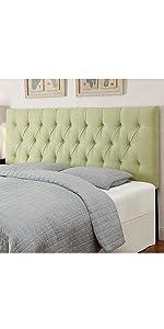 upholstered headboard, headboard, pulaski, home meridian, upholstered, tuxedo lime, lime, green
