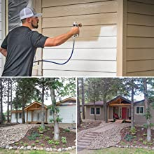 exterior paint, spraying outside, painting house