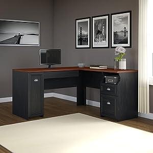 Fairview,desk,hutch,lateral File,office,black,white,Bush