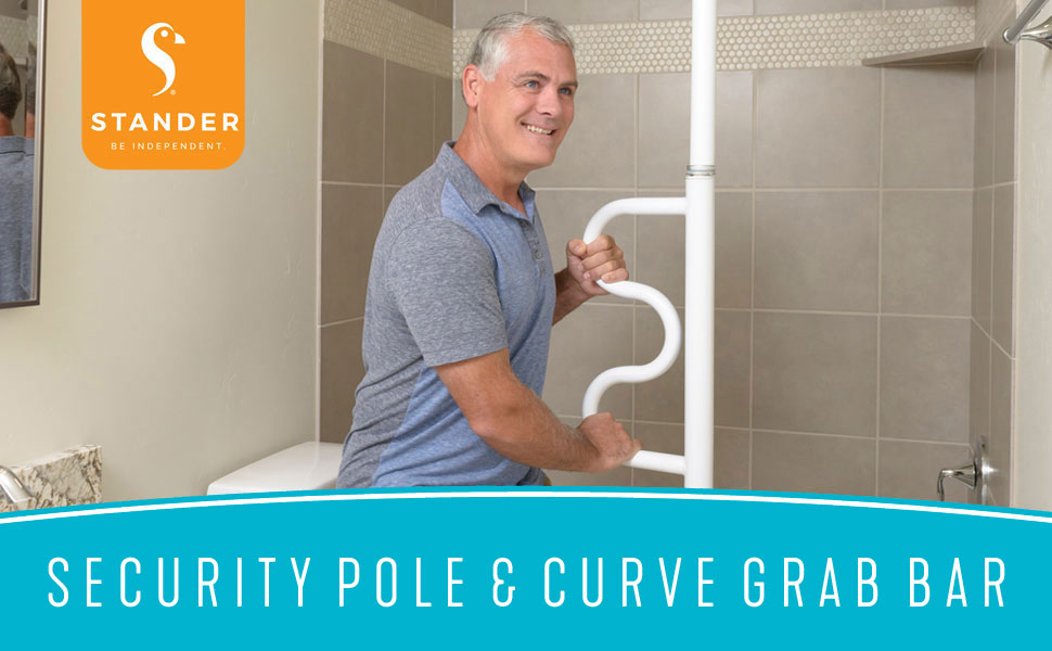 stander security pole and curve grab bar bathroom transfer pole super support handle fall prevention