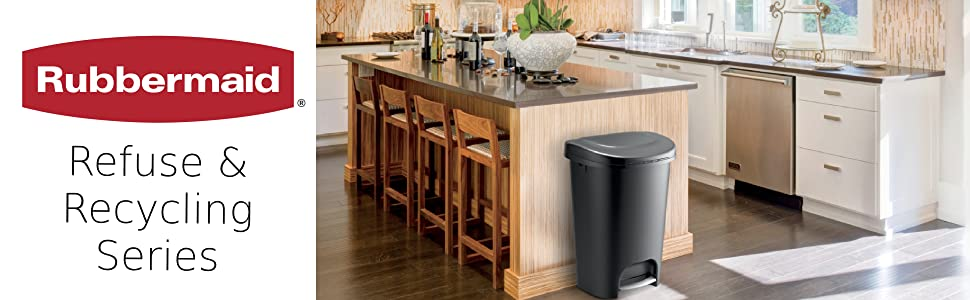 Amazon Com Rubbermaid Step On Lid Slim Trash Can For Home