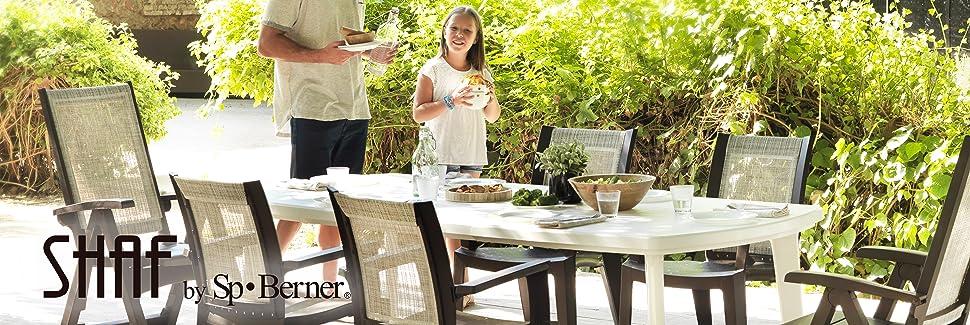 Shaf - Atlantic | Mesa Jardin Extensible de Color Blanco | Fabricado en España con Materiales Reciclados