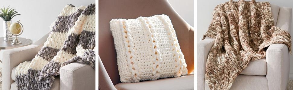 bernat blanket yarn knit craft crochet bulky soft scarf colorful