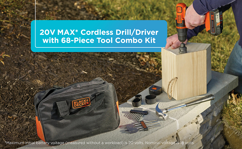 BLACK+DECKER 20V MAX Powerconnect Drill & Home Tool Kit