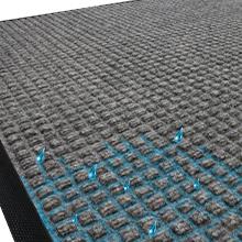 water dam border, traps moisture, traps dirt, entrance mat, indoor mat, outdoor mat, clean, safe