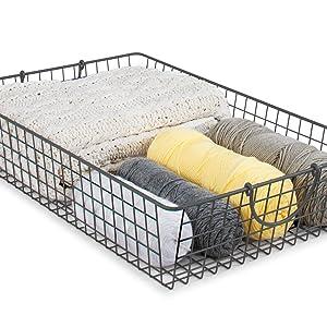 Craft Yarn Fabric Supply Supplies Organizer Basket Bin Storage Holder Handles