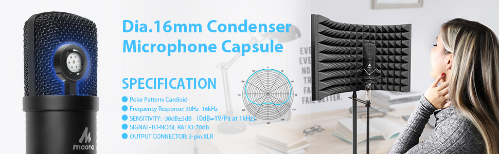 16mm condenser microphone capsule