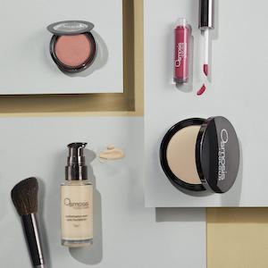 Osmosis beauty makeup, skincare, wellness, lip gloss, blush brush, contouring, foundation