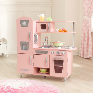 Amazon Com Kidkraft Vintage Wooden Play Kitchen With Pretend Ice Maker And Phone Pink Gift For Ages 3 Toys Games