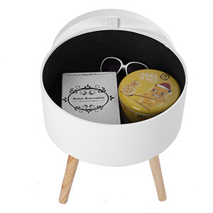 Ejoyous Coffee Table Side Small,bedside Coffee Table,wooden Round Storage  Table Wood White for Bedroom, Living Room(38×38×43cm)