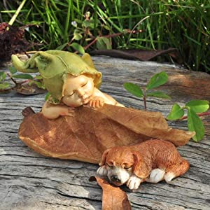 Top Collection 4135 Sleeping miniature fairy garden baby with puppy