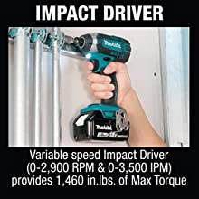 impact driver variable speed RPM IPM provide in.lbs. Max. torque inch-pounds