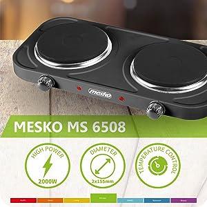 Mesko MS 6509 MS-6509 Hornillo Eléctrico Doble, Regulador de Temperatura, Compacto, 154 mm, 2000W, Negro, Acero, 15.5