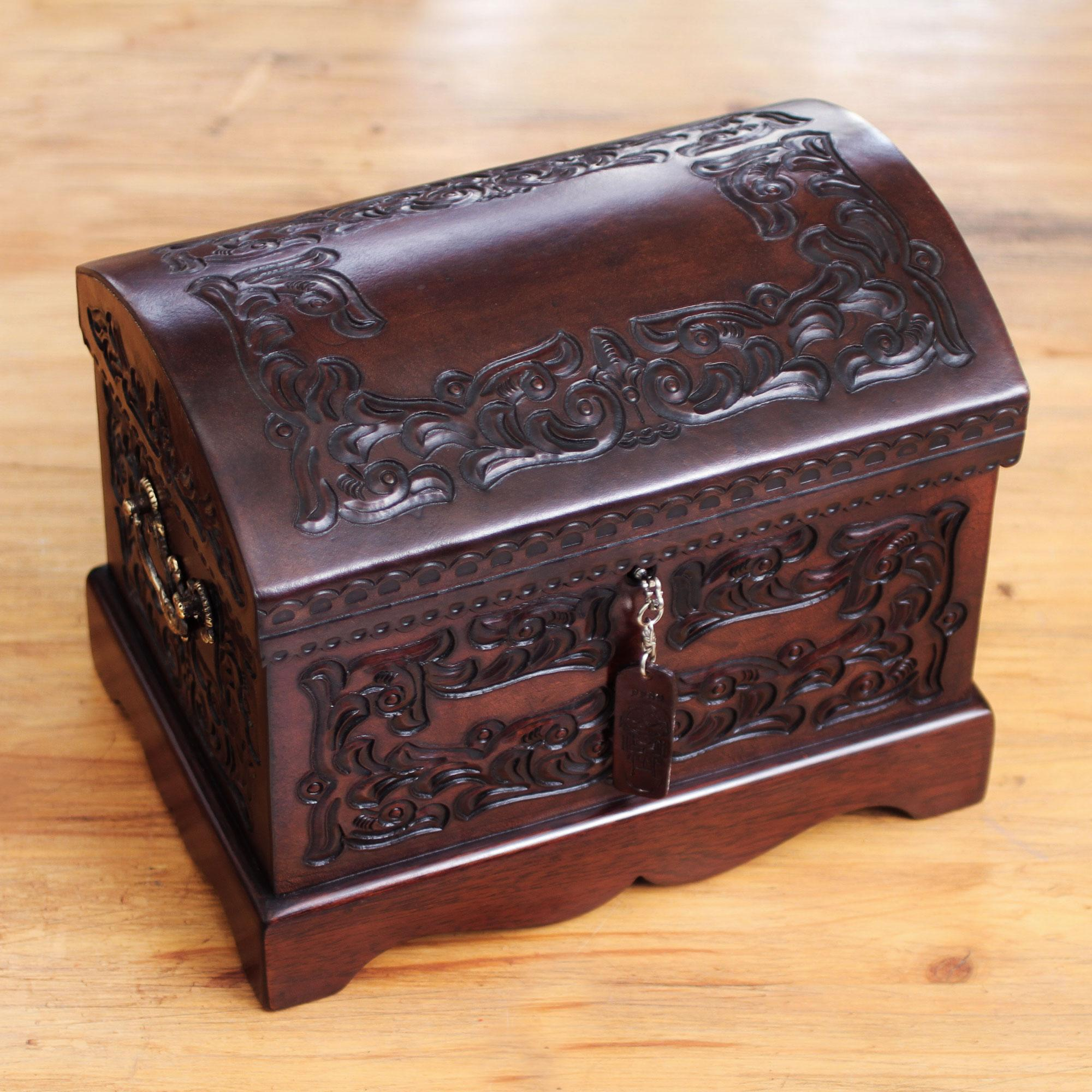 Novica colonial wood and tooled leather jewelry box brown for Jewelry box with key