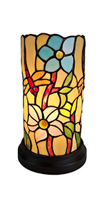 Tiffany Accent Lamp Stained Glass Green Vintage Antique Light Decor Nightstand Living Bedroom