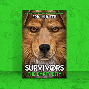 Survivors The Empty City book cover on green background with cracks and dog paw prints.