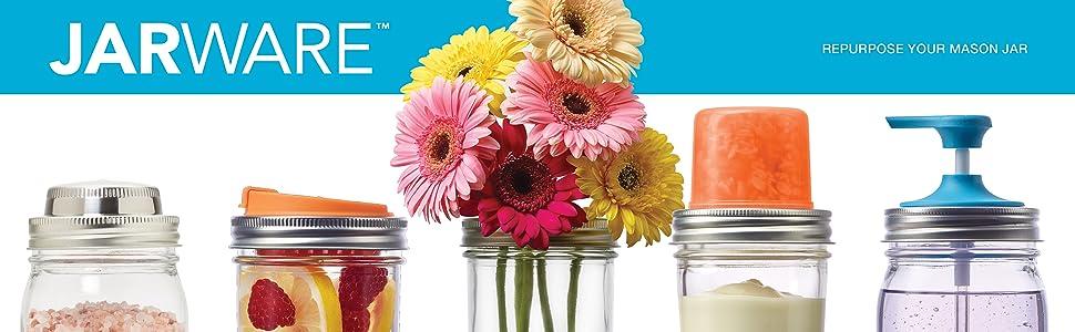 Jarware; mason jar accessories; mason jar tops; beverageware; kitchenware; storeware; tops for jars