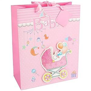 DKDS Collection Bolsa de regalo 3D para bebé, diseño 1, rosa