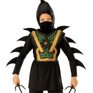Disfraz de Ninja Dragón para niño, negro y rojo, infantil 3-4 años (Rubies 887057-S)