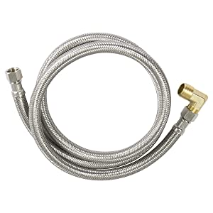 Everflow Supplies 27784PR-NL Premium Lead Free Braided Stainless Steel Premium Dishwasher Connector Hose with PVC Inner Tube 3//8 Compression Connections and Brass Elbow 84