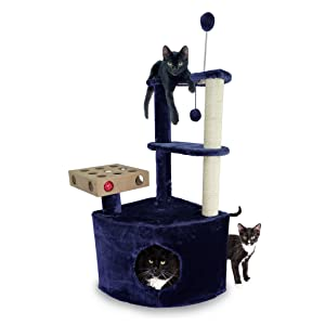 Amazon Com Furhaven Pet Cat Tree Tiger Tough Cat Tree House Condo Entertainment Playground Furniture For Cats And Kittens Home Base Playground Blue Pet Supplies