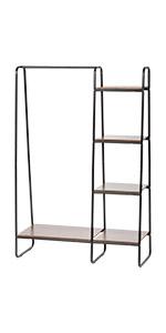 garment rack with shelves, garment rack, metal garment rack with wood shelves, metal garment rack
