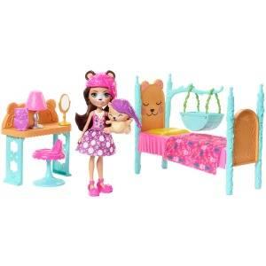 Enchantimals Sleepover Bedroom Playset – Bren Bear doll (6-in) and Snore Animal Figure