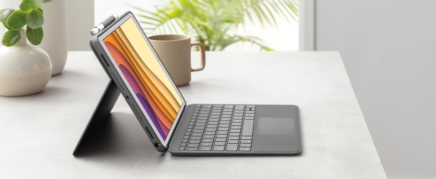 Logitech Combo Touch para iPad (7.ª gen: A2197/A2200/A2198/A2270/A2428/A2429/A2430), funda con teclado, trackpad, teclado inalámbrico y tecnología ...
