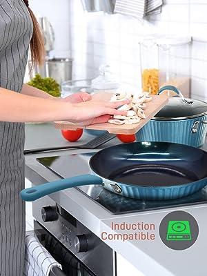 pfoa ptfe free;Nonstick;Cookware Excilon;Home Kitchen Ware Pots;nutrichef;eco