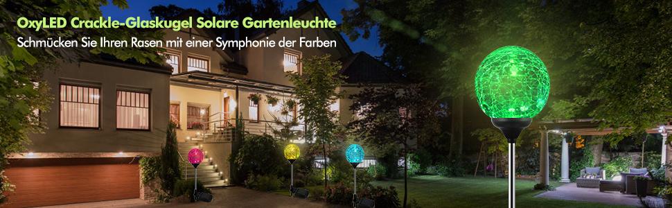 Balkon Rasen Wege Garten AMBM Solarleuchte Gartenleuchte LED Glaskugel,Solar Globe Licht Stakes LED-Gartenbeleuchtung f/ür Au/ßen Terrasse
