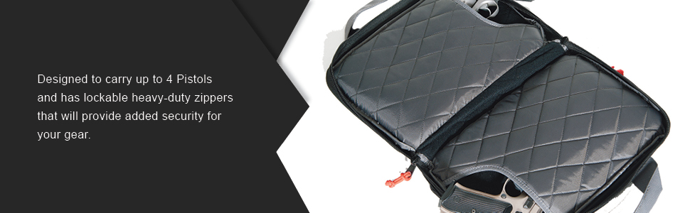 Designed to carry up to 4 Pistols and has lockable heavy-duty zippers