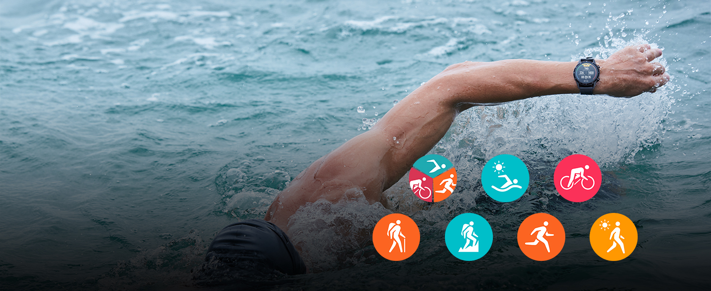 outdoor sports mode; swimming; running; climbing; hiking; real time heart rate