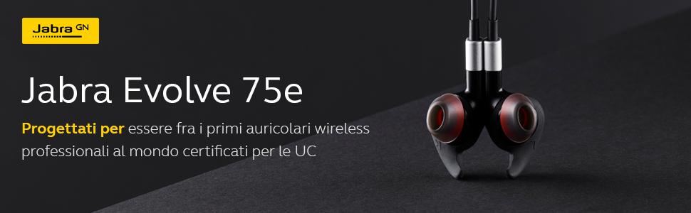 Jabra Evolve Auricolari wireless professionali certificati per le  UC Bluetooth ANC  12995db68c4e