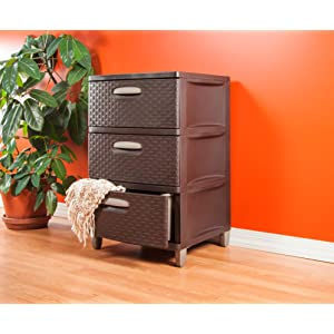 Amazon.com: Sterilite 01986P01 3 Weave Drawer Unit, Espresso with ...