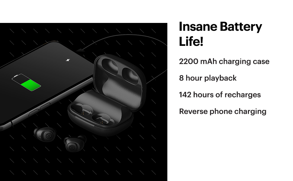 long battery ,2200mah charging case, reverse phone charging, earbuds with long battery and playtime