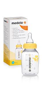 Mittlerer Fluss 250 ml Medela Milchflasche mit Sauger M