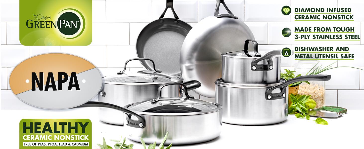 GreenPan CC002086-001 Napa Ceramic Nonstick Cookware 8 /&10 Frypan Set Gray