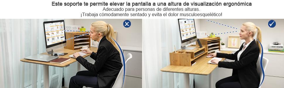SONGMICS Soporte para Monitor de Bambú, Elevador de Monitor ...