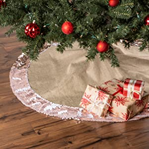 HOLIDAY TREE SKIRT LINEN WITH CHAMPAGNE SEQUIN BORDER